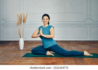Indianstyle Woman Performs Yoga Poses Room Stock Photo Edit Now 1521254771