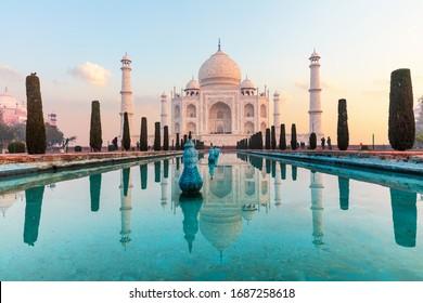 India's famous Taj Mahal mausoleum, peaceful view, Agra