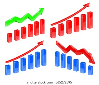 Indication financial charts. 3d illustration isolated on white background. Raster version.