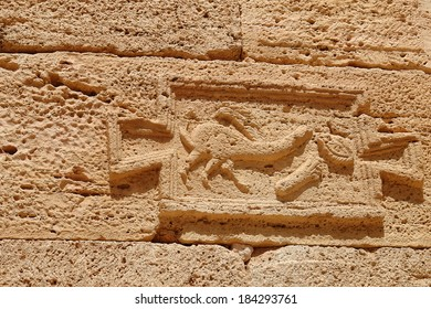 Indication Roman road in the archaeological site of Leptis Magna, Libya