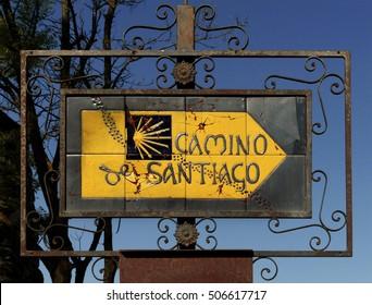 Indicative sign - Camino de Santiago de Compostela, Spain.
