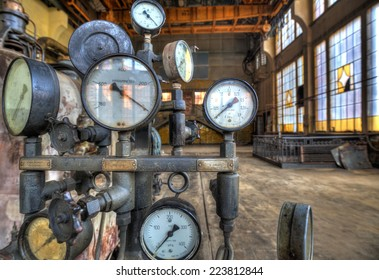 Indicators for the measurement in an old factory. HDR-high dynamic range