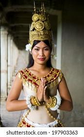 Indigenious Cambodian female dancer greeting.