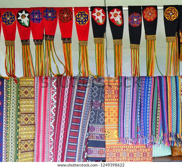 Indigenous arts and crafts are on sale at an outdoor market