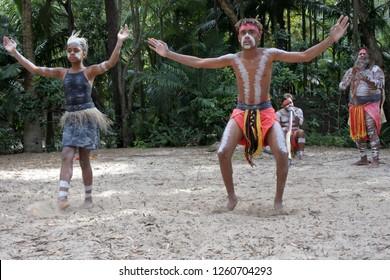 Indigenous AustralianPeople dancing to didgeridoo musical instrument sound rhythm in Queensland, Australia.