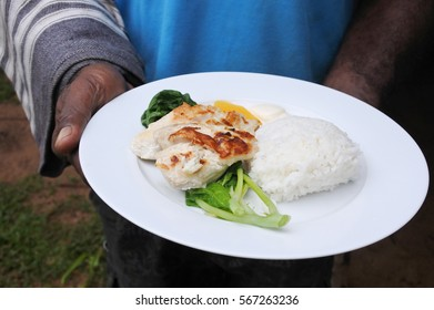 Indigenous Fijian man serve seafood and vegetables dish in a plate.Fried fish with papaya rice and steamed pumpkin leaves.