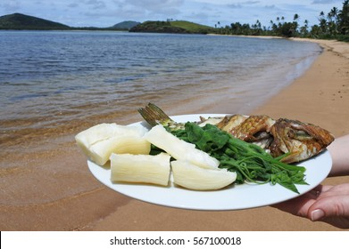 Indigenous Fijian seafood and vegetables dish served on a tropical island beach in Fiji. Fried Parrotfish, tapioca and steamed pumpkin leaves.