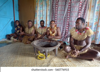 Indigenous Fijians men participate in traditional Kava Ceremony in Fiji. The consumption of the drink is a form of welcome and figures in important socio-political events.