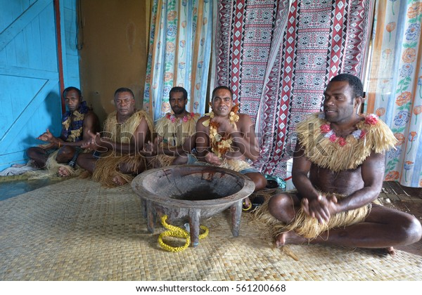 Indigenous Fijians Men Participate Traditional Kava