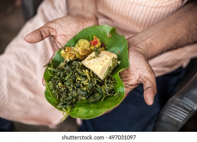 Indigenous meal on a leaf plate in Jharkhand, India. All vegetables are uncultivated; the Adivasi people collected them in the woods.