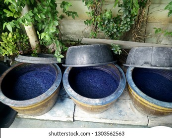 Indigenous and wisdom knowledge of thai people at Sakom nakorn and Phrae about natural colors Mauhom or indigo color in clay pot for tie batik dyeing at outdoor garden of home in Nonthaburi, Thailand