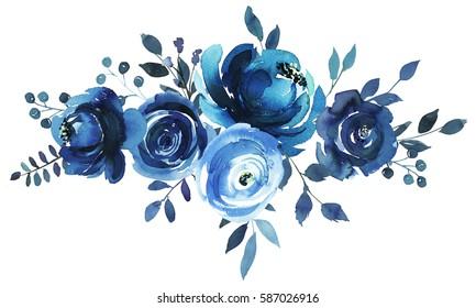 Indigo blue turquoise watercolor hand painted floral bouquet landscape.
