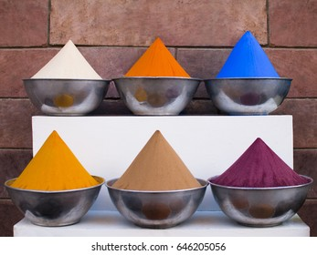 Indigo Dye and Powdered Spices, Indigo Dye, saffron, turmeric, cochineal, powder. Market in Cairo, Egypt.