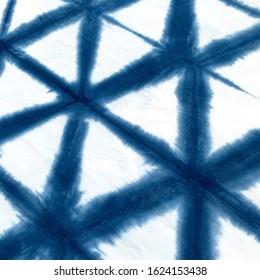 Indigo Tie Dye Hexagon Triangle Pattern