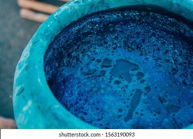 Indigo water, Indigo plant fermentation in clay pot
