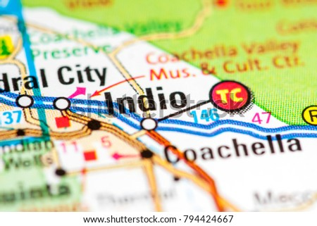 Indio California USA On Map Stock Photo (Edit Now) 794424667 ...