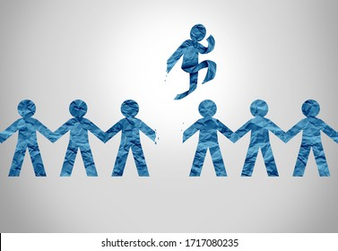 Individual concept and stand out from the crowd business icon as a game changer leader displaying the courage to think different and lead or a fitness symbol of exercise.