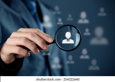 Individual customer service care, personalization, marketing segmentation and targeting, customer relationship management (CRM) and headhunter human resources concepts.