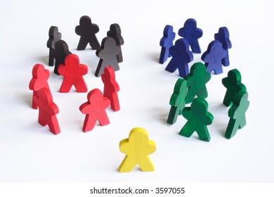 Individual figure looking where it belongs