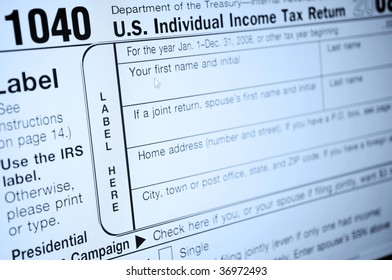 Individual income tax forms from the United States on computer monitor