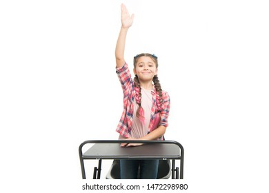 Individual schooling. Elementary school education. Enjoy process of studying. Perfect student girl sit desk. She knows all right answers. Knowledge is richness. Back to school. Private school concept.