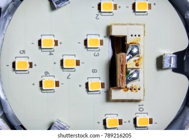 Individual SMD LED Chips Soldered on a Circuit Board Inside a LED Light Bulb