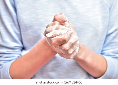 Individuality Hand hygiene, skin care and disinfection hand with soap.