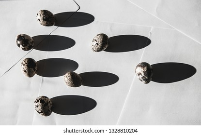 Individuality and uniqueness concept.  Light and shadow of quail eggs  on white background.