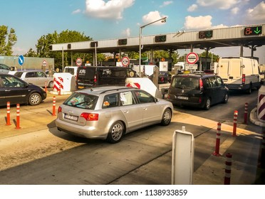 INDJIJA, SERBIA - CIRCA JULY 2018: Cars waiting in line for toll payment on highway, circa July 2018 in Indjija