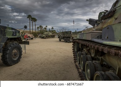 INDO, CA - NOV 20, 2016: Military vehicles and memorabilia on display at the General George S. Patton Memorial Museum, in tribute to General Patton on Nov. 20, 2016