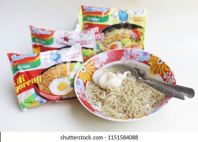 Indomie is best selling Instant noodles in Indonesia. Noodle Mie kuah, Mie rebus, Mie Instan Pedas. yogyakata indonesia. august 8, 2018.