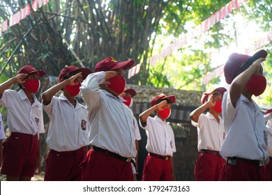 Indonesia 17 August 2020 : Student respect during the ceremony of  Indonesia independence day, Upacara Bendera in Yogyakarta Indonesia