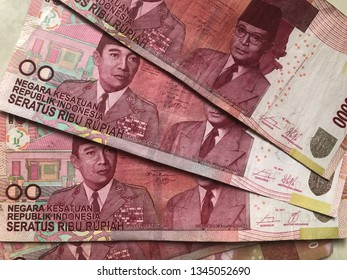 Indonesia- 21 March 2019: Hundred thousand Rupiah Indonesia money currency with picture of Ir. Soekarno and Mohammad Hatta as first Indonesia President and Vice President