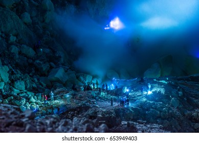 Indonesia 23 MAY 2016 : blue fire of Mount Ijen in 23 May 2016, Kawah ijen, Java, Indonesia