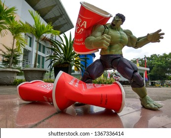 Indonesia - August 06, 2017 : Figure Hulk playing outdoor in Park of Samarinda, Indonesia. Hulk is famous Movie and Comic