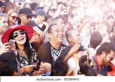 Indonesia, Bali Island, Uluwatu Temple - September 13, 2017: Many people watch the national performance in the open theater