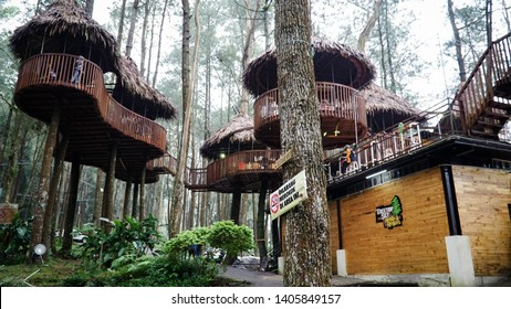 Indonesia, Central Java, Salatiga, April 1, 2018. Kopeng Treetop Adventure Park is a place to relax and adventure with family.