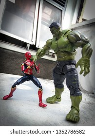 Indonesia, Daerah Istimewa Yogyakarta, yogyakarta; March 29, 2019: figures Hulk and Spiderman in the front of the building. Copyright Hulk Universal and Marvel. Spider man copyright Sony.