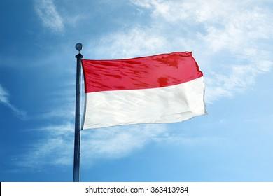 Indonesia flag on the mast