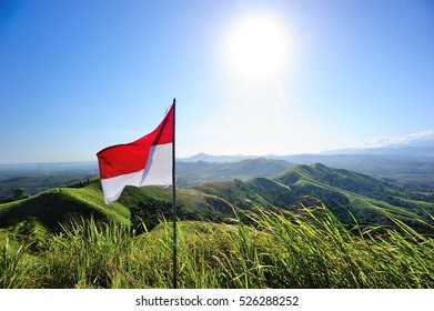 Indonesia flag on Telang Hill, South Kalimantan, Indonesia