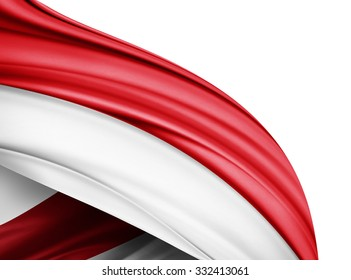 Indonesia  flag of silk with copyspace for your text or images and white background