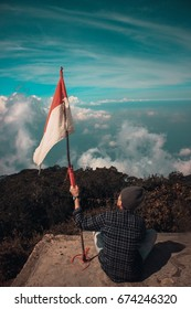 Indonesia Flag In Top Mountain