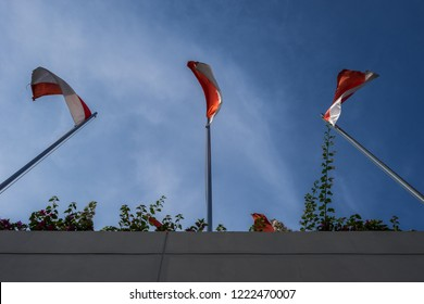 Indonesia flag under the cloudy blue sky