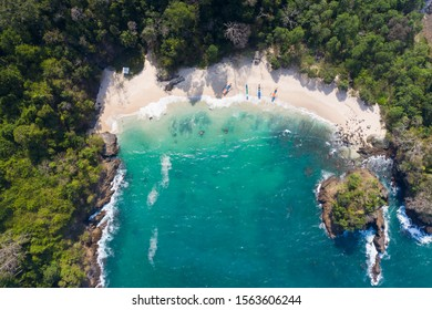 Indonesia green bay beach beautiful drone perspective