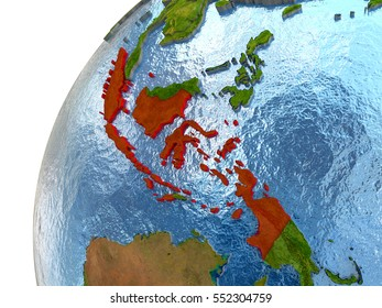 Indonesia map stock illustrations images vectors shutterstock indonesia highlighted in red with surrounding region 3d illustration with highly detailed realistic planet surface gumiabroncs Choice Image