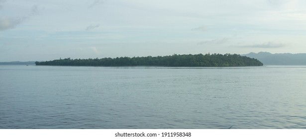 Indonesia islands: Morning Scenery of small islands in Talaud district, North Sulawesi province, taken from an Manado-Melonguane passenger motor boat