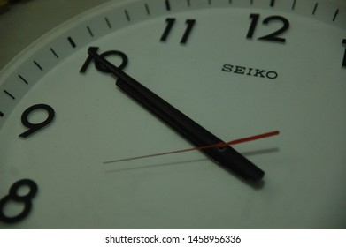Indonesia  - juli 23nd 2019 - seiko vintage  wall clock black and white color