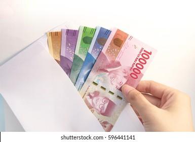 Indonesia Money Rupiah inside envelope