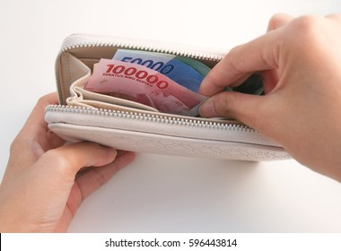 Indonesia Money Rupiah inside purse