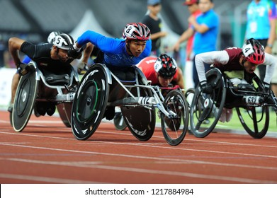 INDONESIA, October 6-13, 2018 : Para Athletics from Thailand in action during  in Asian Para Games 2018 at JAKARTA, INDONESIA